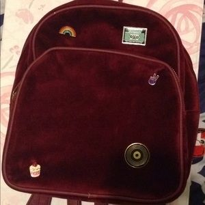Burgundy velvet mini backpack
